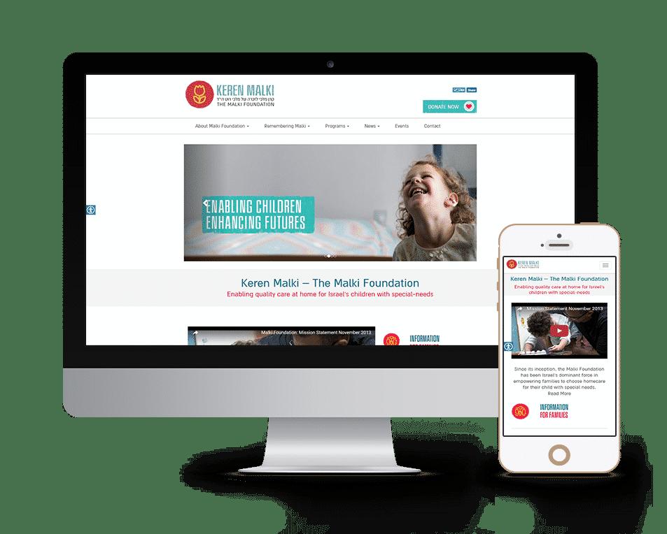 עיצוב ובניית אתר עבור עמותת קרן מלכי