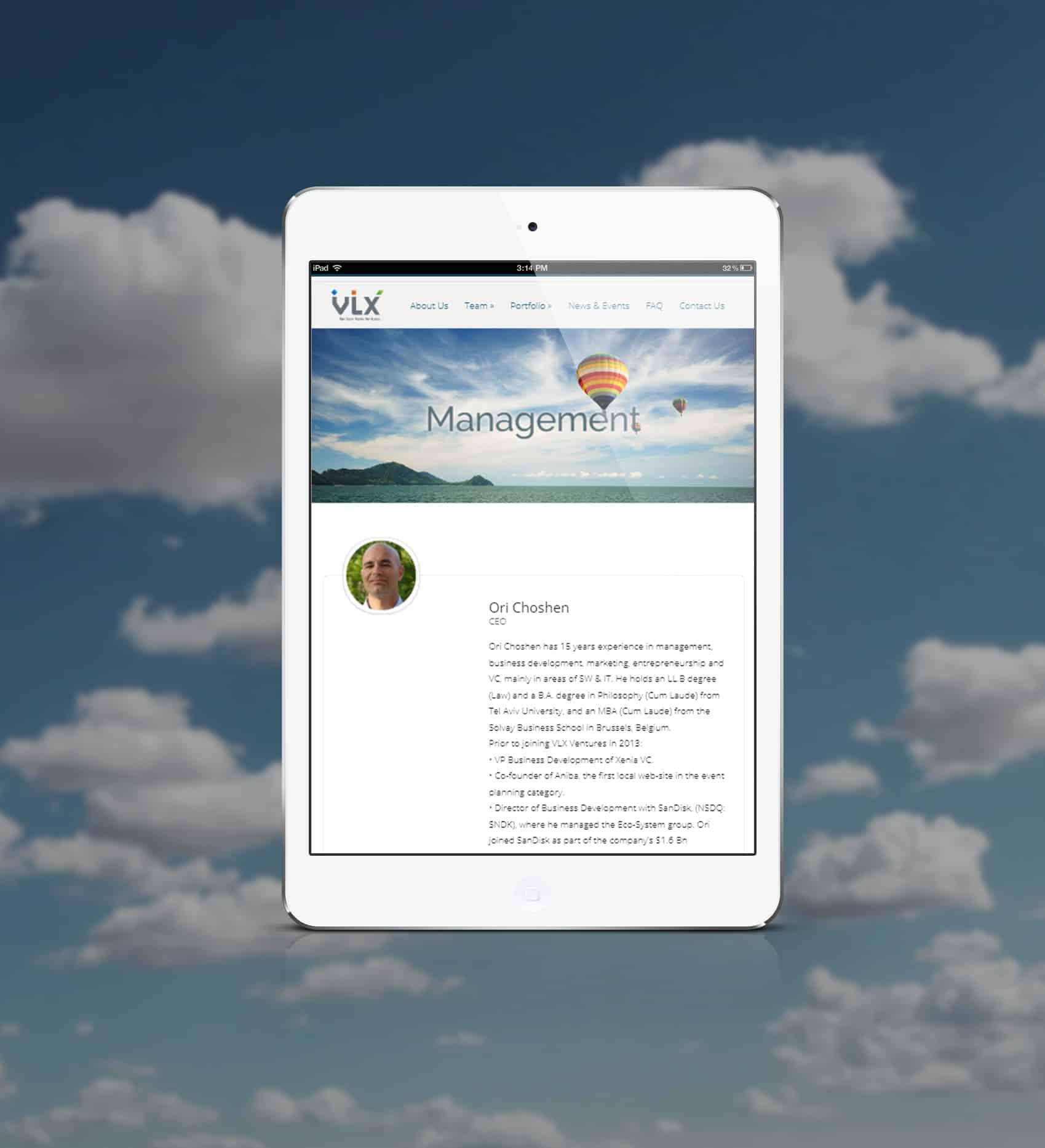 התאמת אתר למובייל וטאבלט - עיצוב ובניית אתר ל VLX חממה טכנולוגית בגבעת רם